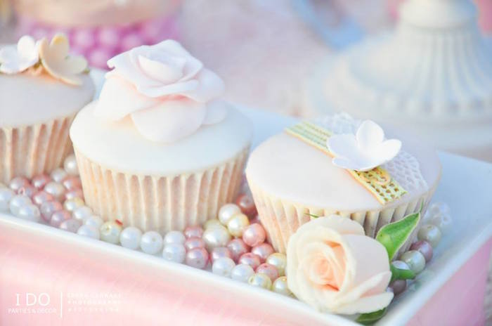 Cupcakes from a Vintage Shabby Chic 1st Birthday Party via Kara's Party Ideas | KarasPartyIdeas.com (21)