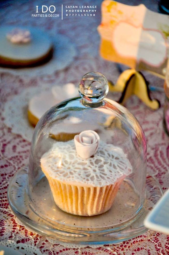 Cupcake from a Vintage Shabby Chic 1st Birthday Party via Kara's Party Ideas | KarasPartyIdeas.com (20)