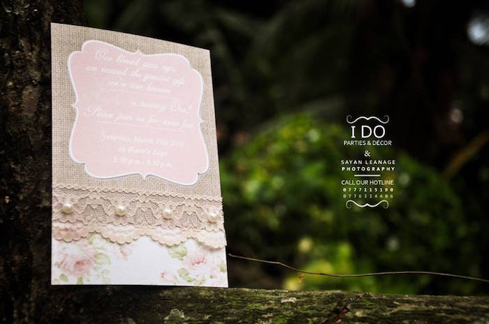 Invitation from a Vintage Shabby Chic 1st Birthday Party via Kara's Party Ideas | KarasPartyIdeas.com (18)