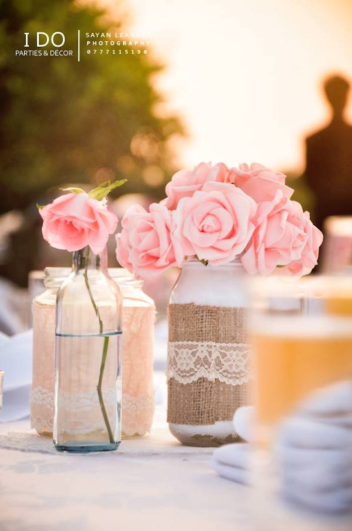 Table Centerpieces from a Vintage Shabby Chic 1st Birthday Party via Kara's Party Ideas | KarasPartyIdeas.com (16)