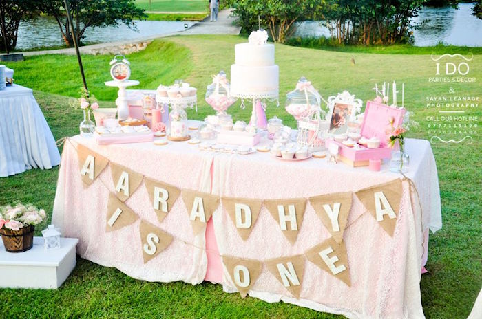 Sweet Table from a Vintage Shabby Chic 1st Birthday Party via Kara's Party Ideas | KarasPartyIdeas.com (13)