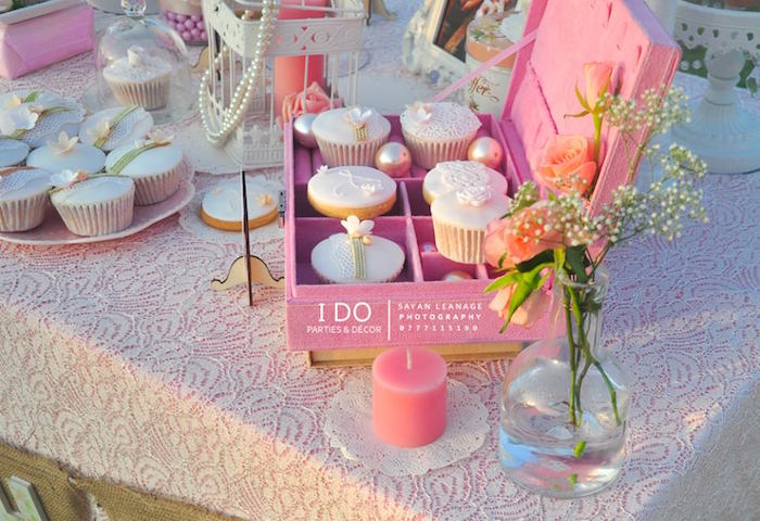 Sweet Table Details from a Vintage Shabby Chic 1st Birthday Party via Kara's Party Ideas | KarasPartyIdeas.com (12)