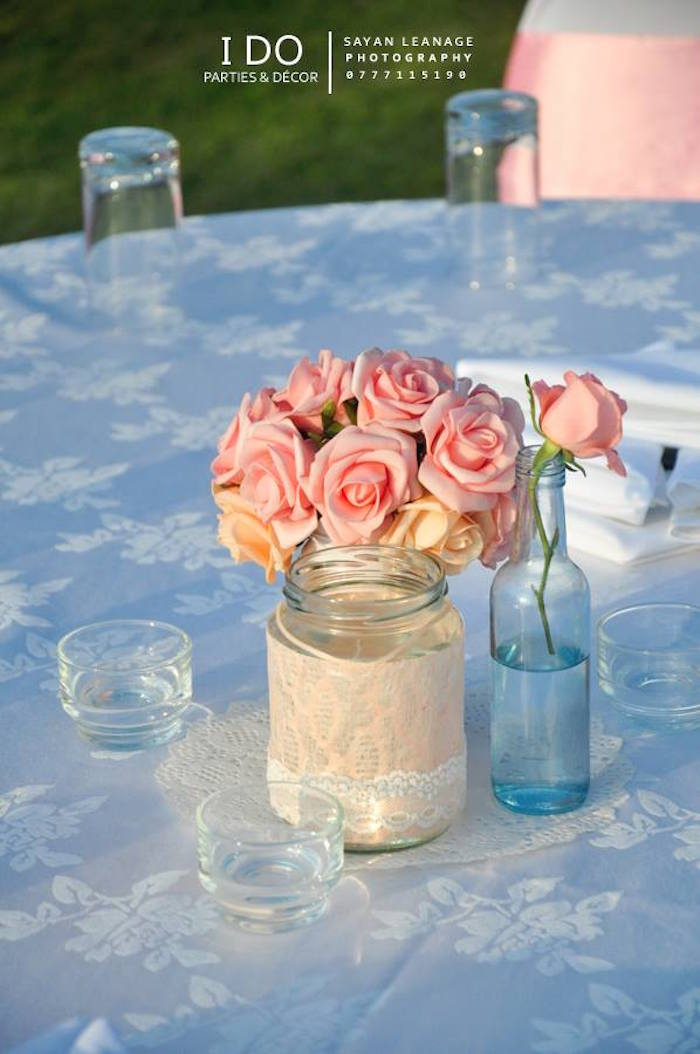 Floral Arrangement Centerpieces from a Vintage Shabby Chic 1st Birthday Party via Kara's Party Ideas | KarasPartyIdeas.com (10)