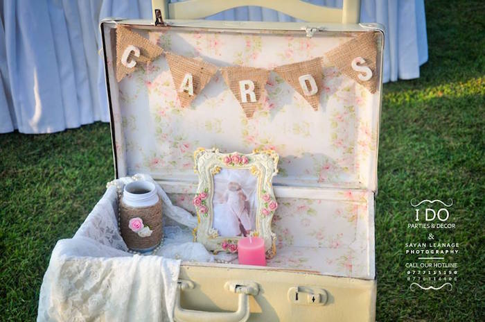 Vintage Suitcase for Cards from a Vintage Shabby Chic 1st Birthday Party via Kara's Party Ideas | KarasPartyIdeas.com (6)