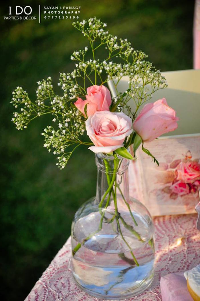 Floral Arrangement from a Vintage Shabby Chic 1st Birthday Party via Kara's Party Ideas | KarasPartyIdeas.com (3)