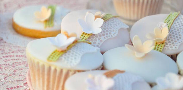 Cupcakes from a Vintage Shabby Chic 1st Birthday Party via Kara's Party Ideas | KarasPartyIdeas.com (1)
