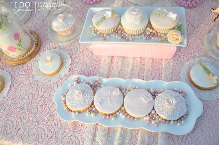 Cookies + Cupcakes from a Vintage Shabby Chic 1st Birthday Party via Kara's Party Ideas | KarasPartyIdeas.com (41)