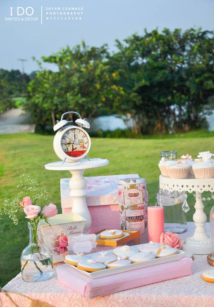 Sweet Table Details from a Vintage Shabby Chic 1st Birthday Party via Kara's Party Ideas | KarasPartyIdeas.com (40)