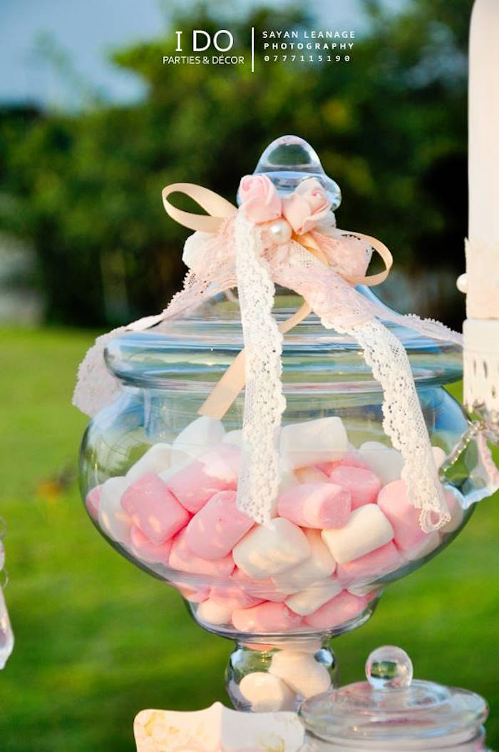 Marshmallow Puffs placed in an Apothecary Jar from a Vintage Shabby Chic 1st Birthday Party via Kara's Party Ideas | KarasPartyIdeas.com (39)