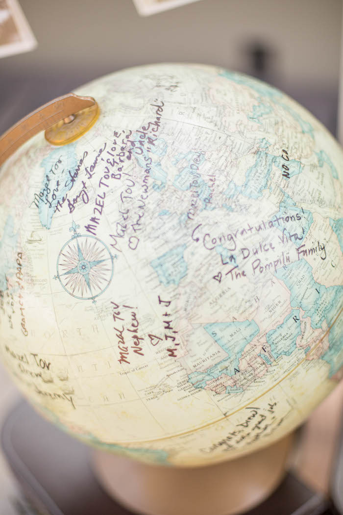 Signature Globe from a Vintage Travel Bar Mitzvah Party via Kara's Party Ideas - KarasPartyIdeas.com (14)