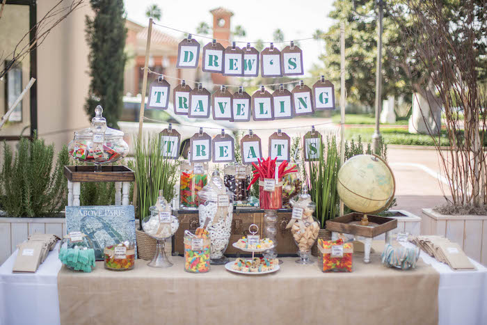 Sweet Snack Table From A Vintage Travel Bar Mitzvah Party Via Kara S Ideas