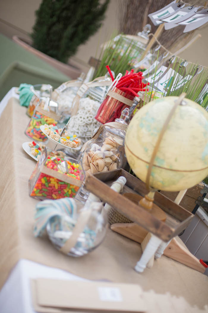 Side-view of a sweet table from a Vintage Travel Bar Mitzvah Party via Kara's Party Ideas - KarasPartyIdeas.com (10)