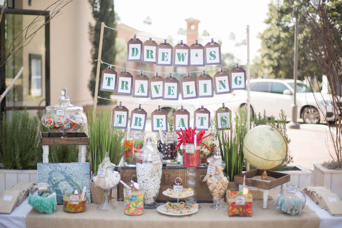 Sweet Table from a Vintage Travel Bar Mitzvah Party via Kara's Party Ideas - KarasPartyIdeas.com (5)