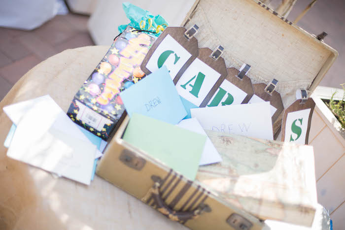 Gift + Card Suitcase from a Vintage Travel Bar Mitzvah Party via Kara's Party Ideas - KarasPartyIdeas.com (4)