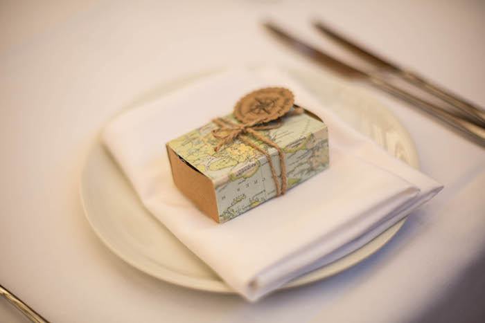 Place Setting from a Vintage Travel Bar Mitzvah Party via Kara's Party Ideas - KarasPartyIdeas.com (20)