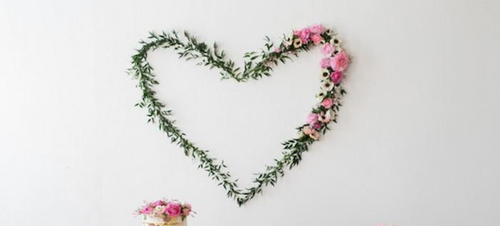Floral + Greenery Heart from a We Love Lucy Pink + Gold Baby Shower via Kara's Party Ideas | KarasPartyIdeas.com (1)