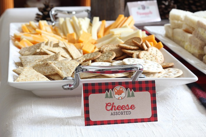 Cheese + Cracker Plate from a Woodland Animal + Lumberjack Baby Shower via Kara's Party Ideas! KarasPartyIdeas.com (11)