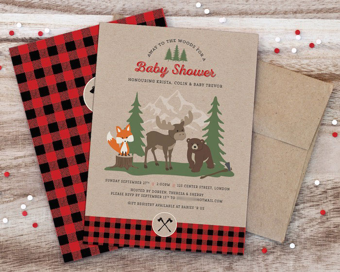 kara's party ideas woodland animal + lumberjack baby shower, Baby shower invitations