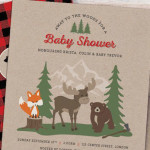 Invitation from a Woodland Animal + Lumberjack Baby Shower via Kara's Party Ideas! KarasPartyIdeas.com (1)