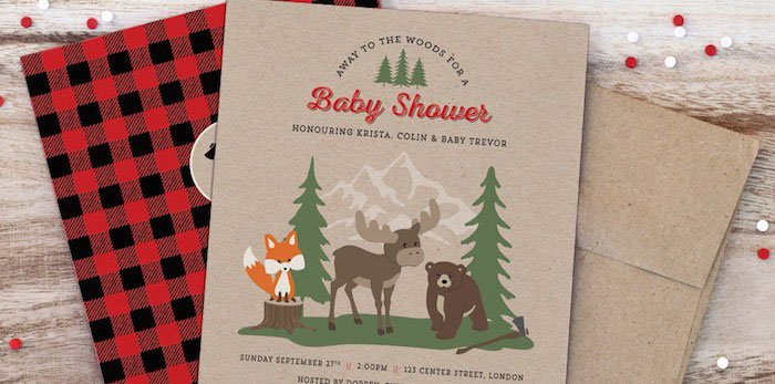Invitation from a Woodland Animal + Lumberjack Baby Shower via Kara's Party Ideas! KarasPartyIdeas.com (1)