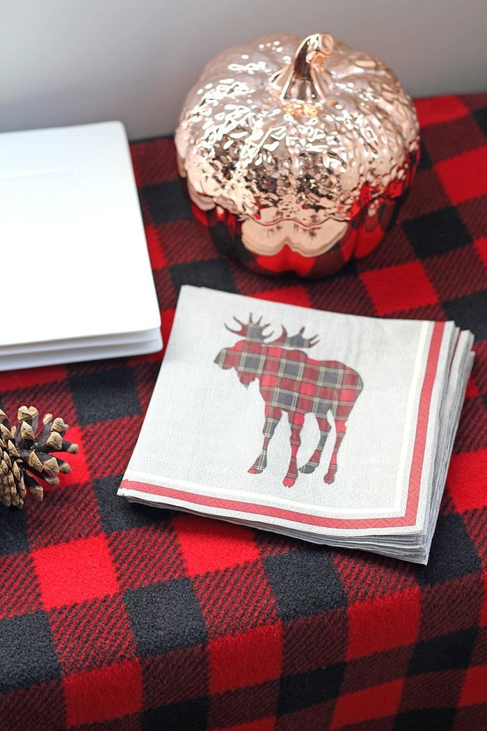 Custom Lumberjack + Moose Napkins from a Woodland Animal + Lumberjack Baby Shower via Kara's Party Ideas! KarasPartyIdeas.com (15)