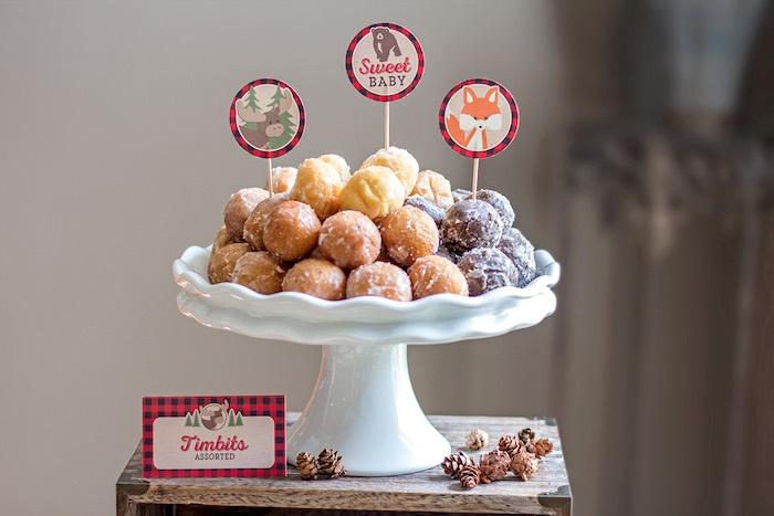 Donut Holes + Timbits from a Woodland Animal + Lumberjack Baby Shower via Kara's Party Ideas! KarasPartyIdeas.com (12)