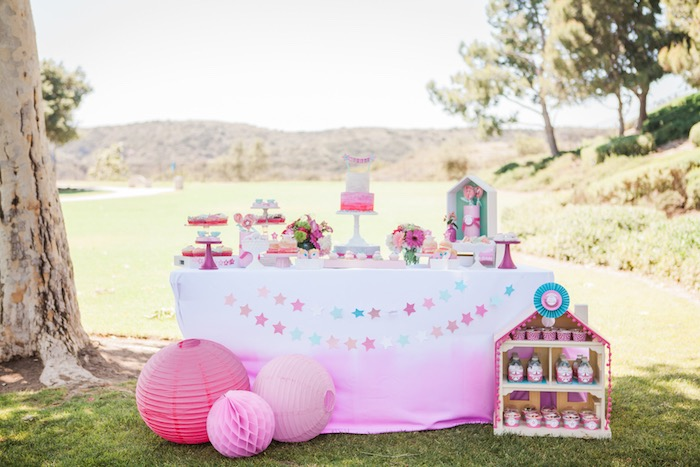 Dessert Table from an American Girl Doll Inspired Birthday Party via Kara's Party Ideas | KarasPartyIdeas.com | The Place for All Things Party! (37)