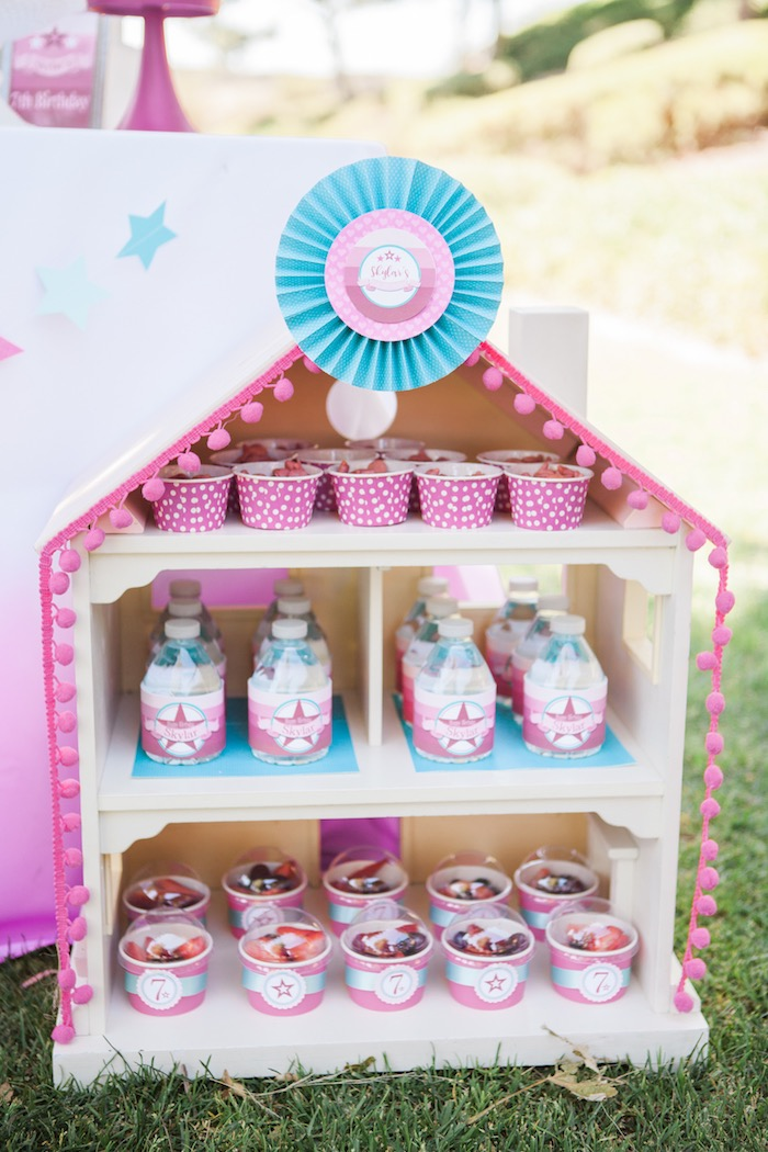 Doll House Stand from an American Girl Doll Inspired Birthday Party via Kara's Party Ideas | KarasPartyIdeas.com | The Place for All Things Party! (33)