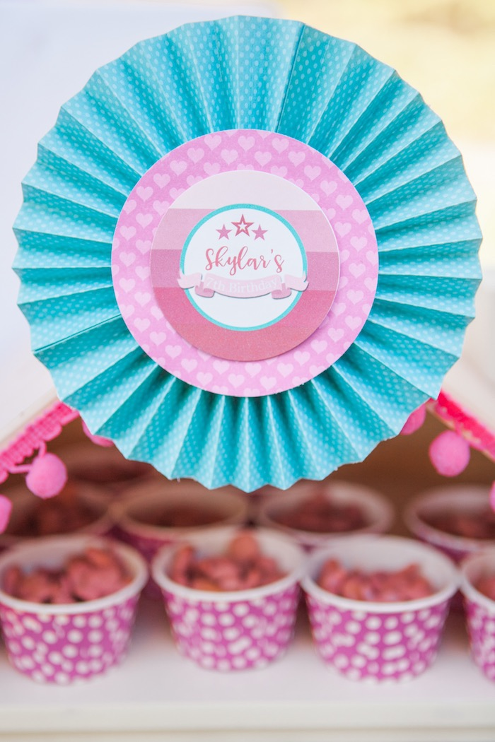 Paper Rosette from an American Girl Doll Inspired Birthday Party via Kara's Party Ideas | KarasPartyIdeas.com | The Place for All Things Party! (31)