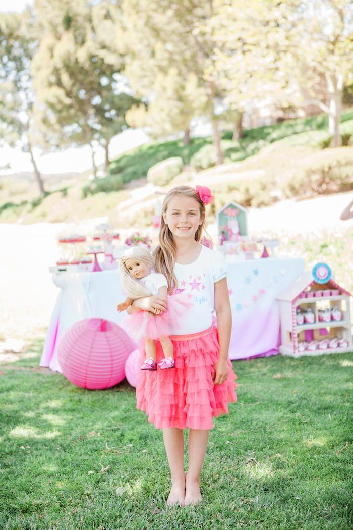 Birthday Girl + Doll from an American Girl Doll Inspired Birthday Party via Kara's Party Ideas | KarasPartyIdeas.com | The Place for All Things Party! (18)