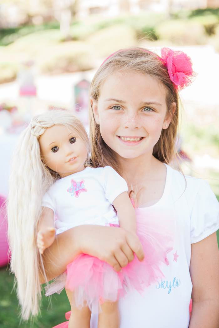 Birthday Girl + Doll from an American Girl Doll Inspired Birthday Party via Kara's Party Ideas | KarasPartyIdeas.com | The Place for All Things Party! (17)
