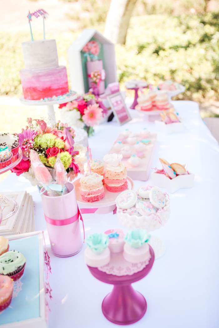 Dessert Table Details from an American Girl Doll Inspired Birthday Party via Kara's Party Ideas | KarasPartyIdeas.com | The Place for All Things Party! (15)
