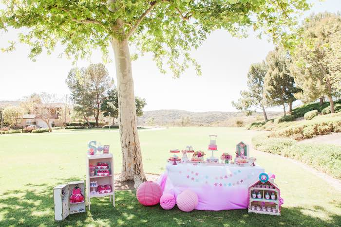 Party Setup from an American Girl Doll Inspired Birthday Party via Kara's Party Ideas | KarasPartyIdeas.com | The Place for All Things Party! (14)