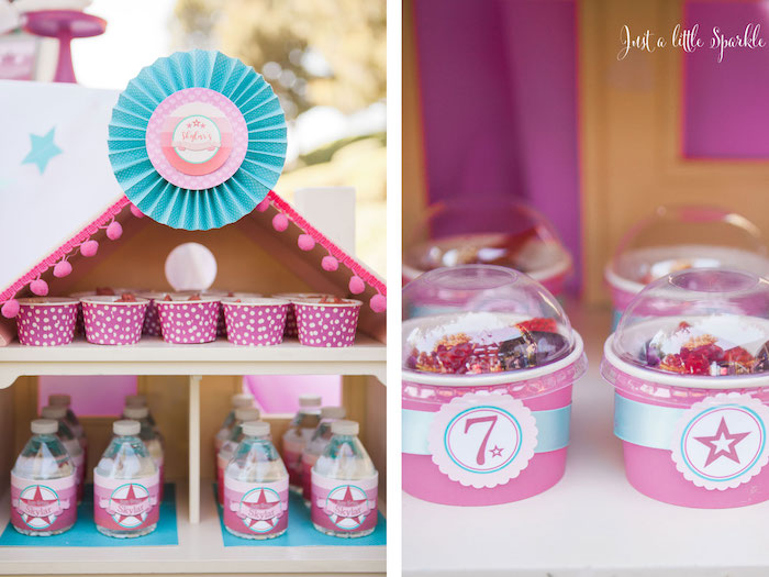 Doll House, Fruit Cup + Water Bottle Stand from an American Girl Doll Inspired Birthday Party via Kara's Party Ideas | KarasPartyIdeas.com | The Place for All Things Party! (45)
