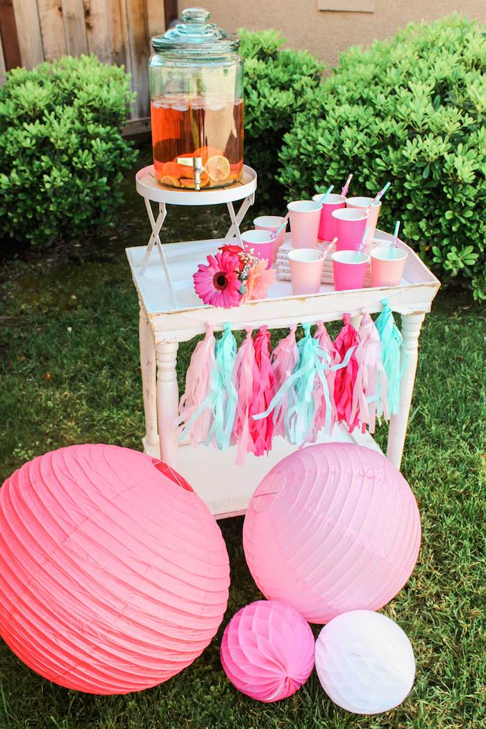 Drink Station from an American Girl Doll Inspired Birthday Party via Kara's Party Ideas | KarasPartyIdeas.com | The Place for All Things Party! (8)