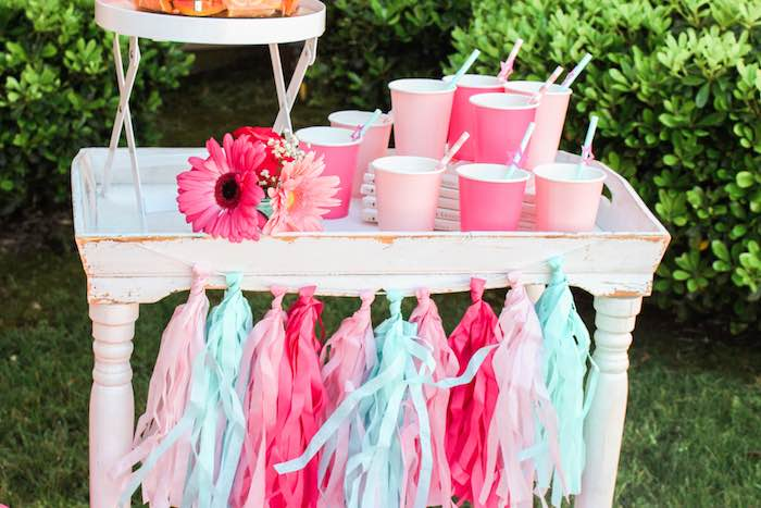 Drink Station Details from an American Girl Doll Inspired Birthday Party via Kara's Party Ideas | KarasPartyIdeas.com | The Place for All Things Party! (7)