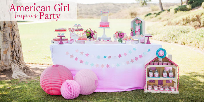 Dessert Table from an American Girl Doll Inspired Birthday Party via Kara's Party Ideas | KarasPartyIdeas.com | The Place for All Things Party! (1)