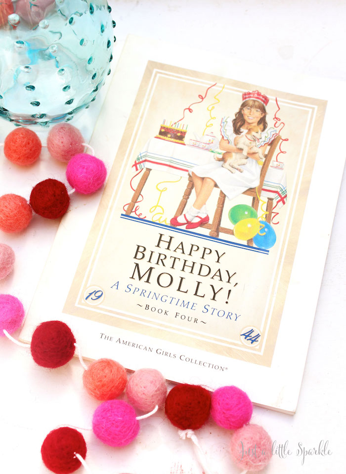 """""""Happy Birthday Molly"""" Book + Decor Piece from an American Girl Doll Inspired Birthday Party via Kara's Party Ideas 