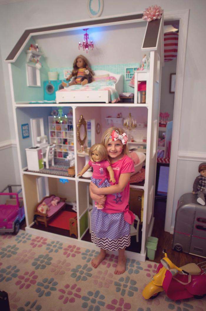 Birthday Girl + Doll House from an American Girl Doll Themed Birthday Party via Kara's Party Ideas! KarasPartyIdeas.com (45)