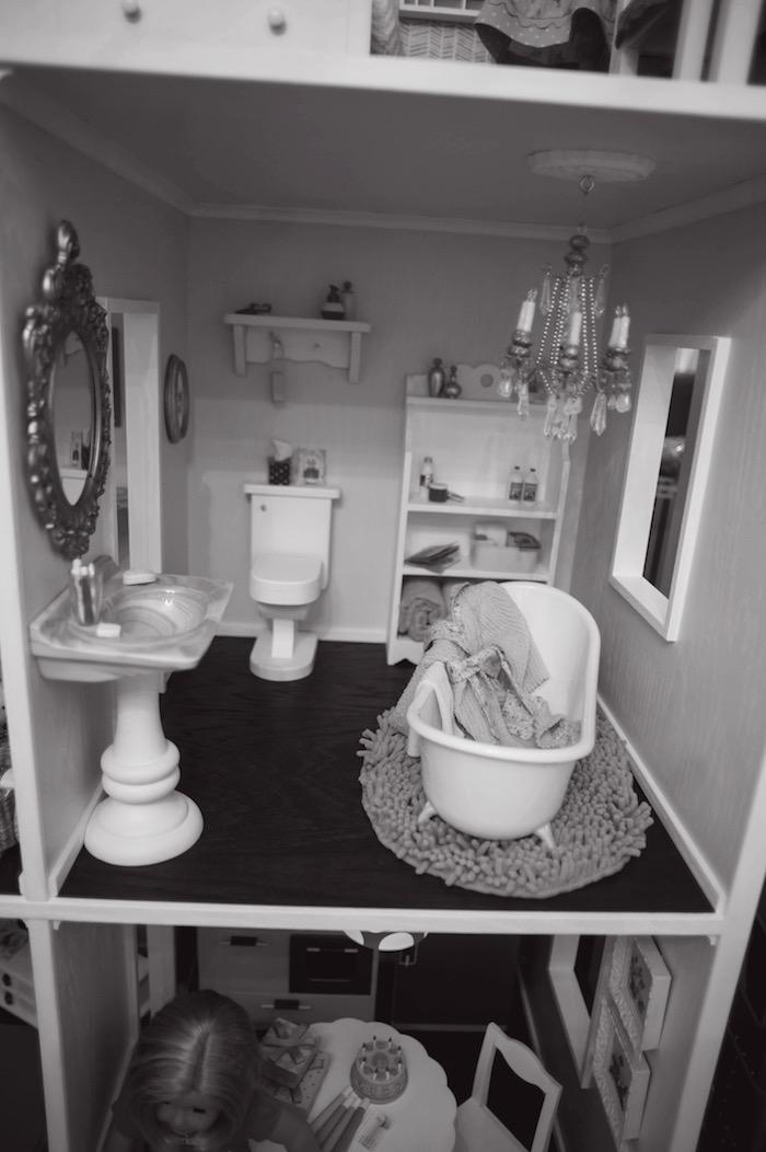 Doll House Bathroom from an American Girl Doll Themed Birthday Party via Kara's Party Ideas! KarasPartyIdeas.com (43)