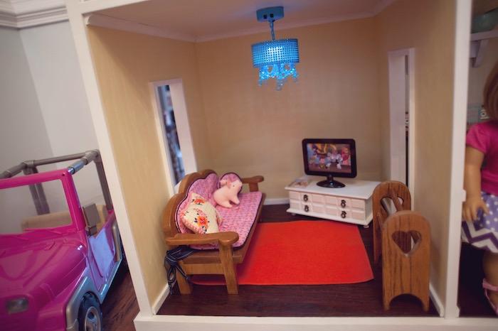 Doll House TV Room from an American Girl Doll Themed Birthday Party via Kara's Party Ideas! KarasPartyIdeas.com (41)