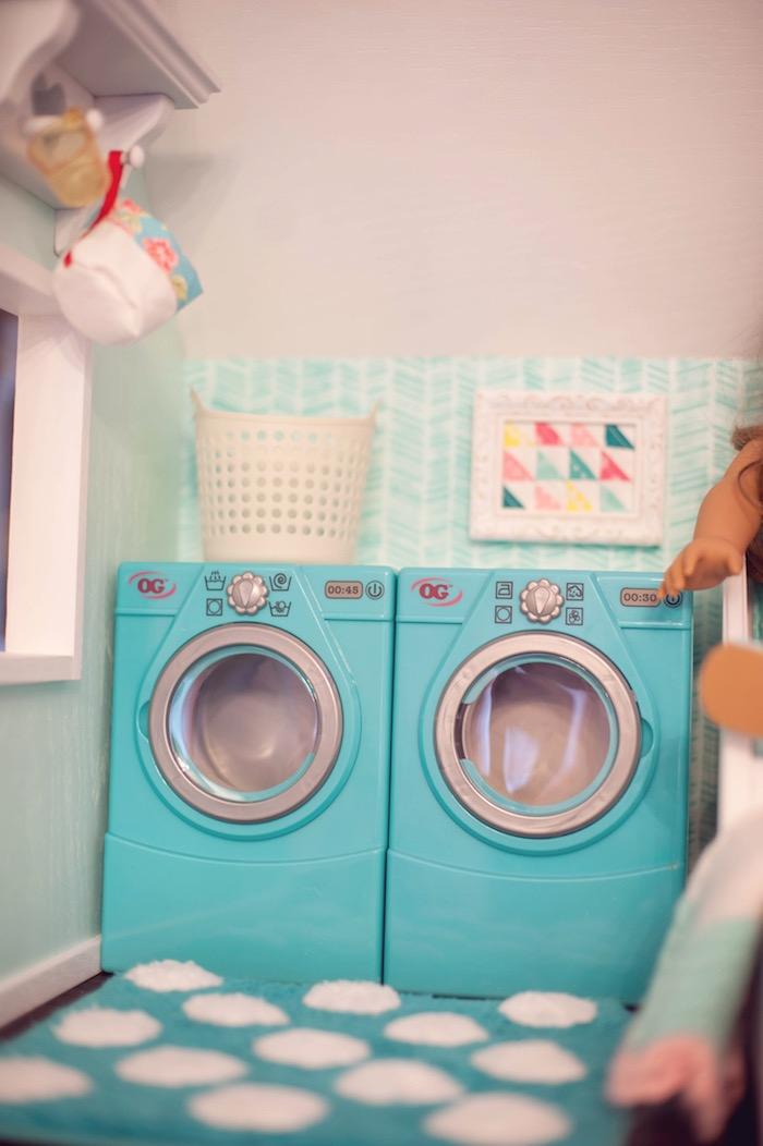Doll House Laundry Room from an American Girl Doll Themed Birthday Party via Kara's Party Ideas! KarasPartyIdeas.com (38)