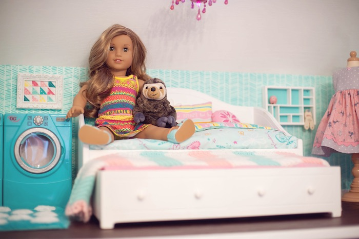 Doll House Bedroom from an American Girl Doll Themed Birthday Party via  Kara s Party Ideas. Kara s Party Ideas American Girl Doll Themed Birthday Party
