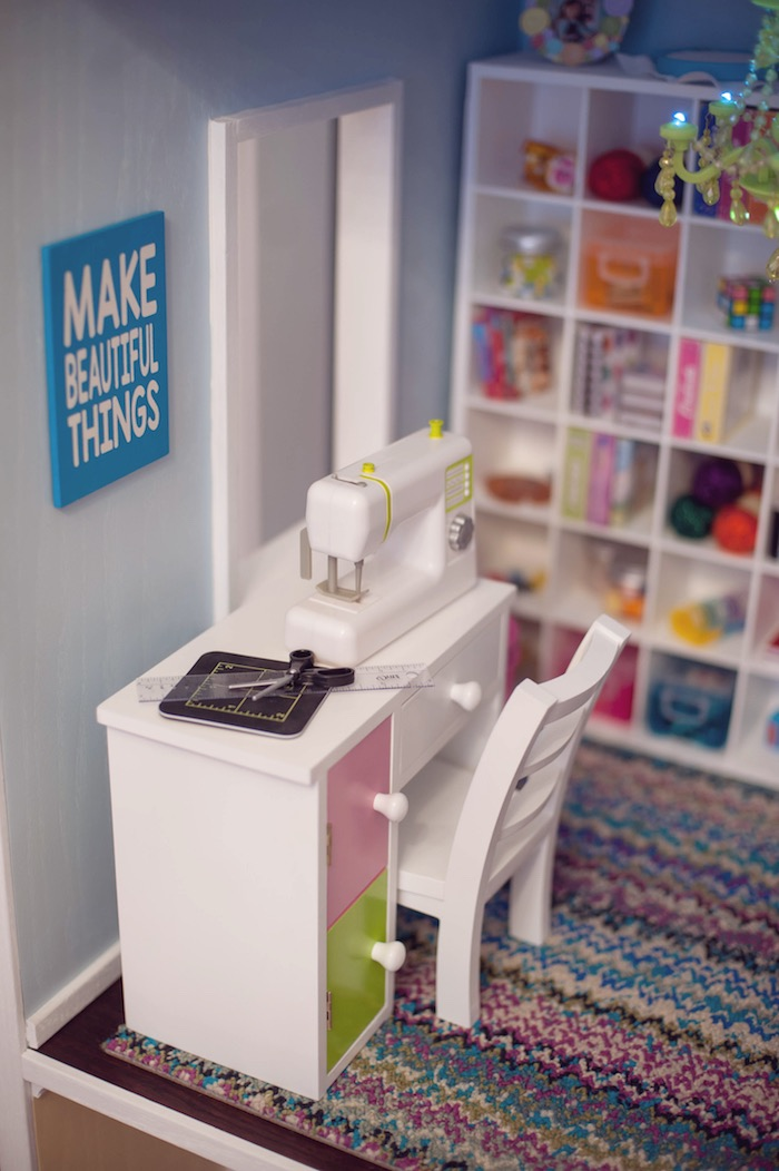 Doll House Sewing Room Detail from an American Girl Doll Themed Birthday Party via Kara's Party Ideas! KarasPartyIdeas.com (35)