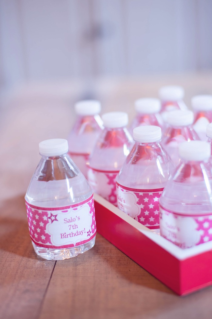 Water Bottles from an American Girl Doll Themed Birthday Party via Kara's Party Ideas! KarasPartyIdeas.com (32)