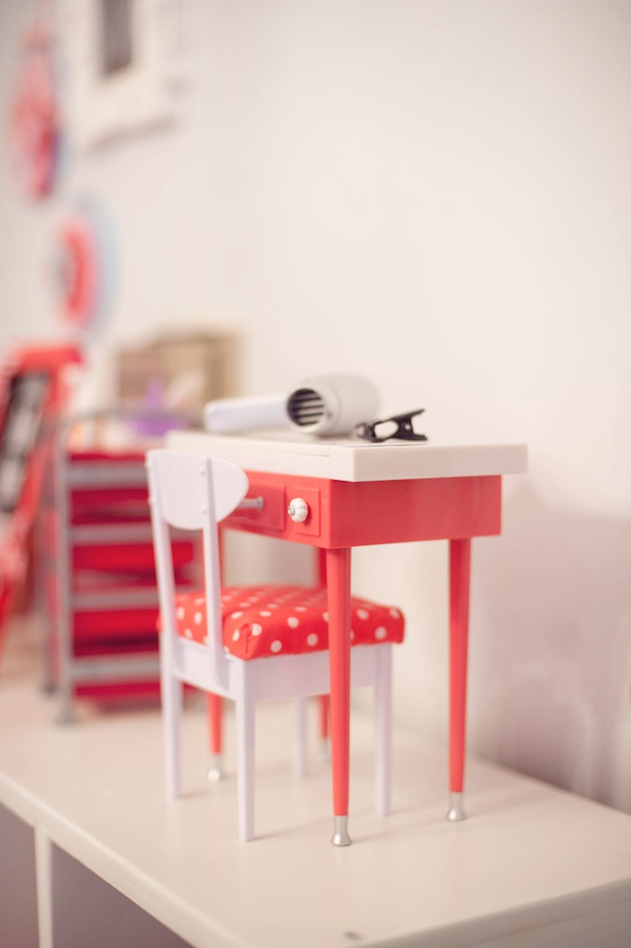 Details displayed on a Doll Hair Salon from an American Girl Doll Themed Birthday Party via Kara's Party Ideas! KarasPartyIdeas.com (57)
