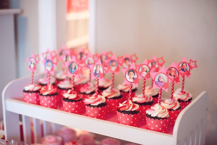Karas Party Ideas Cupcakes from an American Girl Doll Themed