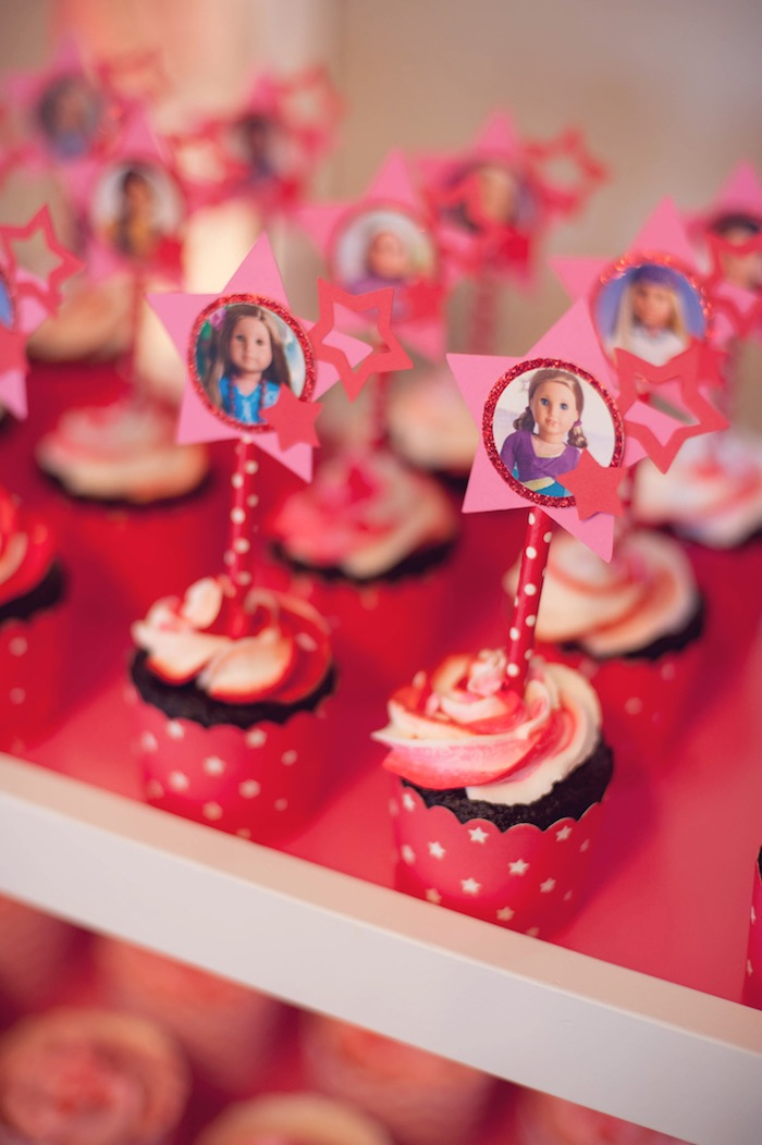 Cupcakes from an American Girl Doll Themed Birthday Party via Kara's Party Ideas! KarasPartyIdeas.com (21)