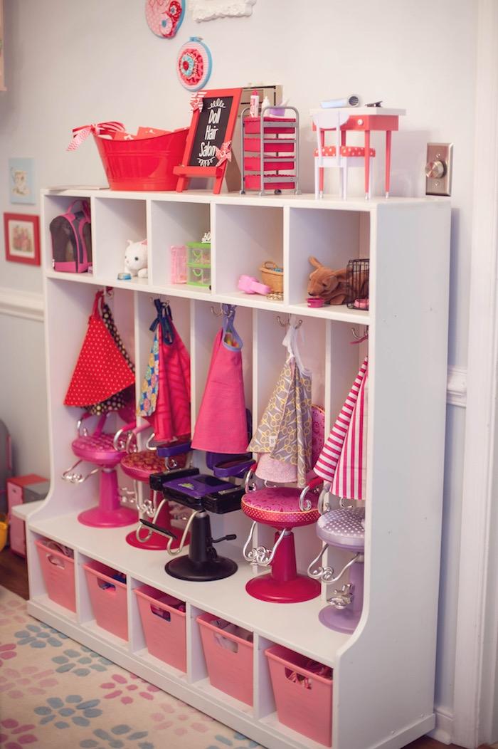 Doll Hair Salon from an American Girl Doll Themed Birthday Party via Kara's Party Ideas! KarasPartyIdeas.com (56)