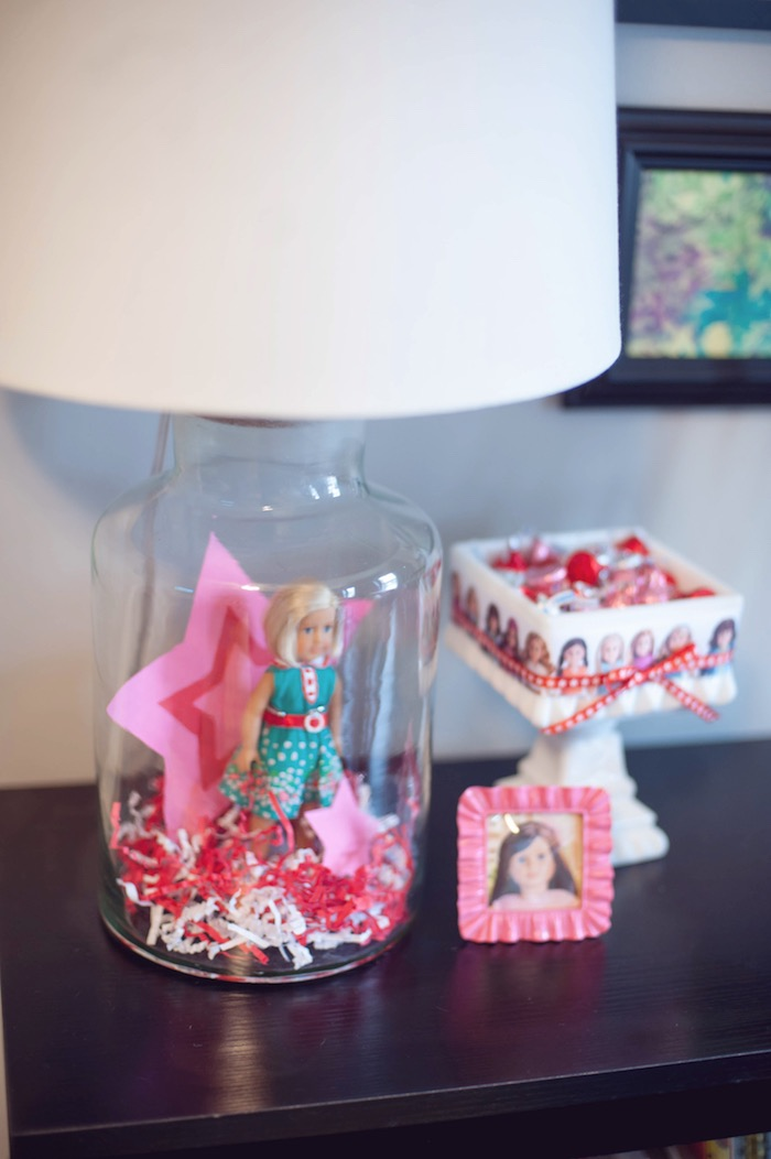 American Girl Doll-inspired Lamp + Details from an American Girl Doll Themed Birthday Party via Kara's Party Ideas! KarasPartyIdeas.com (16)